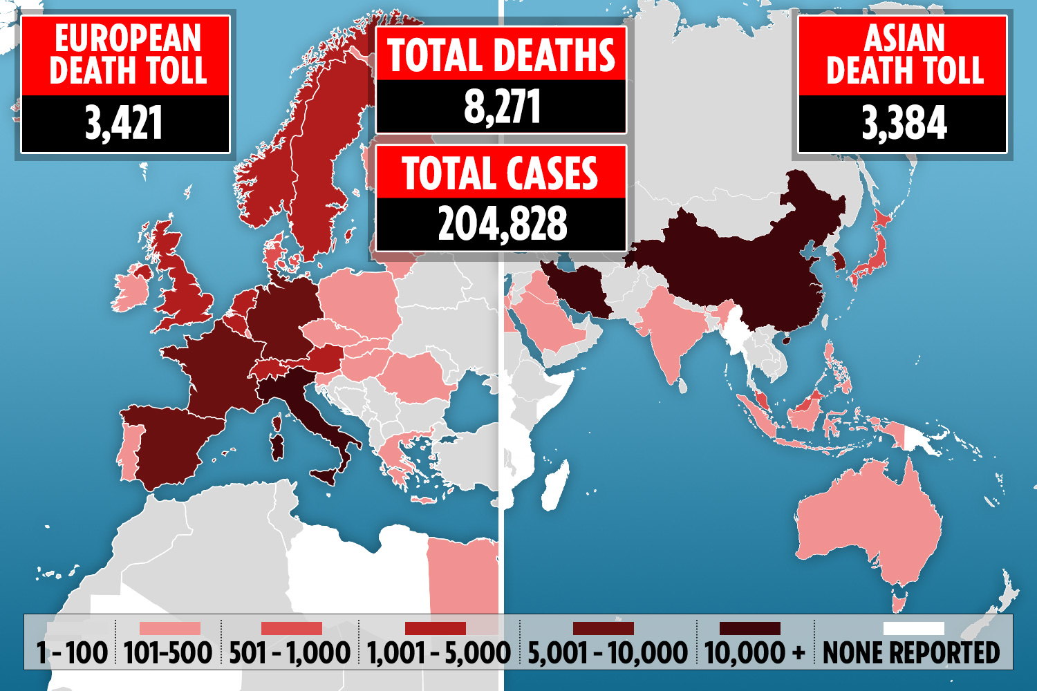 European coronavirus death toll now exceeds Asia as global number ...
