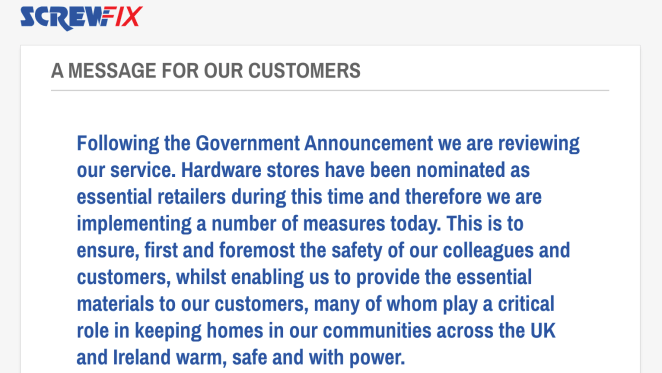 Screwfix has the following announcement on its website