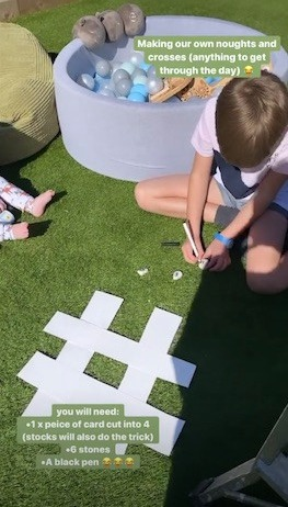 She also helped her boys to make their own noughts and crosses board