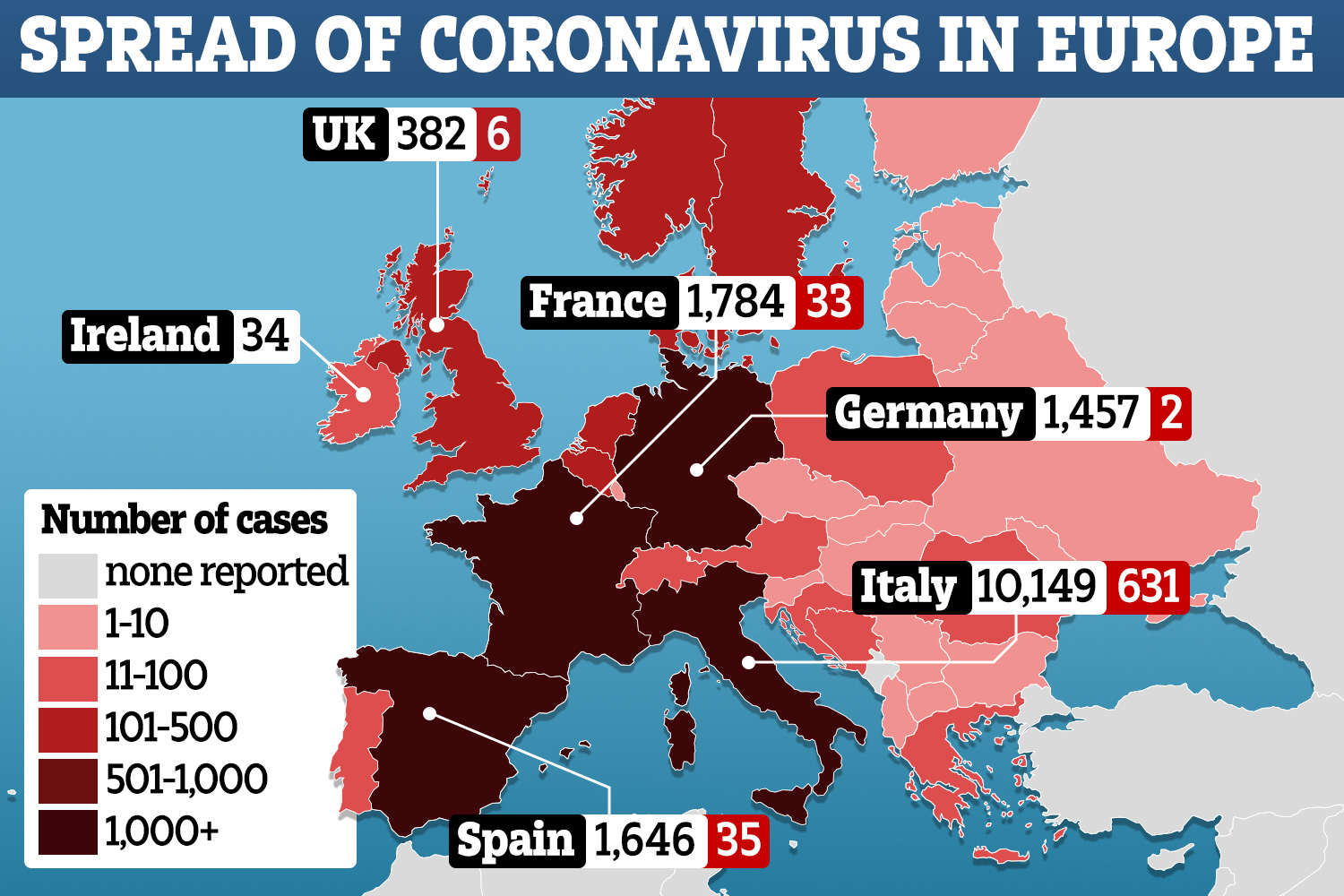 Coronavirus engulfs Europe as Germany warns 58million will catch ...