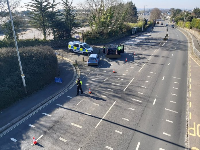 Police have installed checkpoints on many roads in Devon and Cornwall