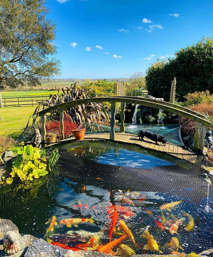 Michelle has a pond and bridge at Essex home which she shares with husband Mark Wright