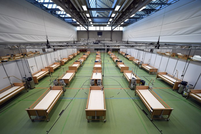 A gym transformed into a makeshift hospital in Ebersberg, Germany