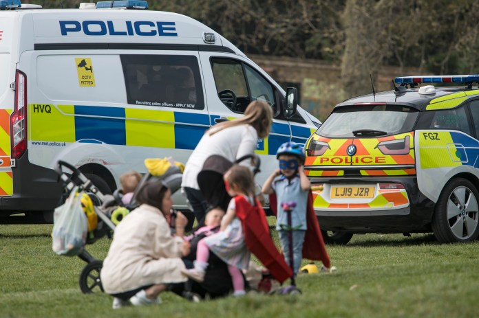 Large police presence at Primrose Hill in north London during the coronavirus pandemic
