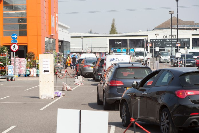 Hundreds of people arrived at B&Q in Riverside Retail Park in Nottingham to pick up orders and the police had to be drafted to help manage traffic.