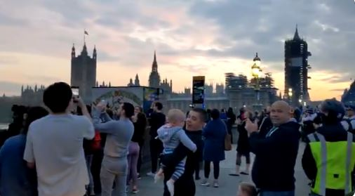 Lots of people flocked to Westminster Bridge to join the caregiver flap there - but failed to stay far enough