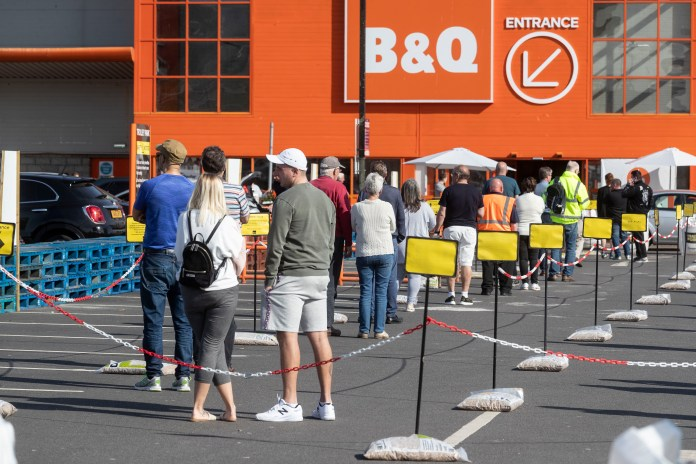 Buyers line up at B&Q in Aberdeen after reopening today