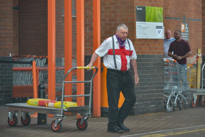 A man celebrated St. George by visiting his local B&Q store in Leeds