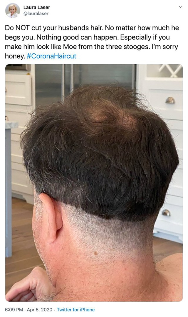 One wife gave her husband the unintended consequence of looking like a member of the three stooges