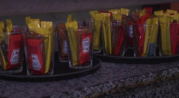 Condiment bottles will be replaced with single-use bags