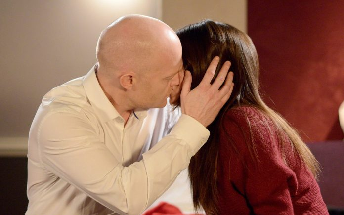 Kisses on the screen - like Max and Stacey passionate about snog - are out of the question with the rules of social distancing applicable in the square