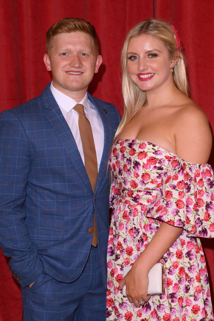 Sam Aston and wife Briony revealed they are expecting their first child
