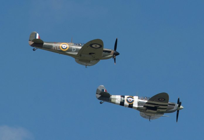 Two Spitfires submarines flew over Southend airport where they will land for refueling before heading to Dover on Friday