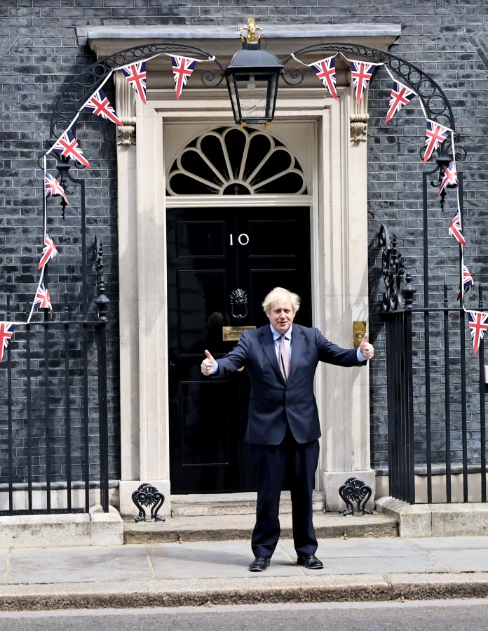 Prime Minister stood outside Downing Street today to mark the 75th anniversary of Victory Day