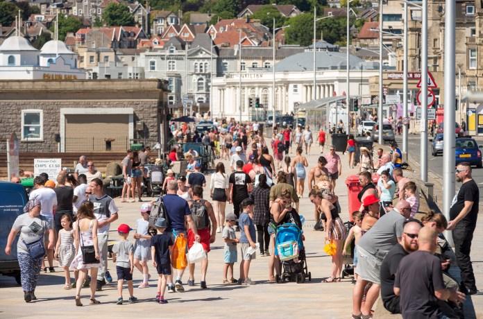 People enjoying the hot weather in Weston-super-Mare last week