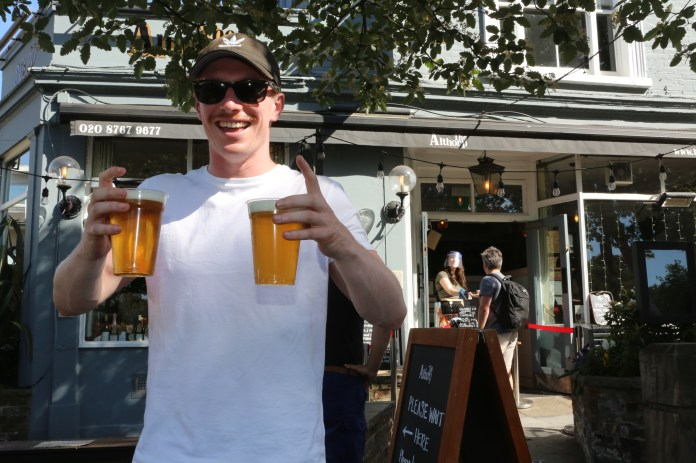 The sun and alcohol have brought a smile back to pub owners who took advantage of a loophole to sell pints this week
