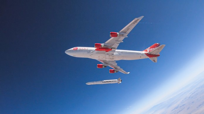 LauncherOne released from the belly of a 35,000-foot Boeing 747