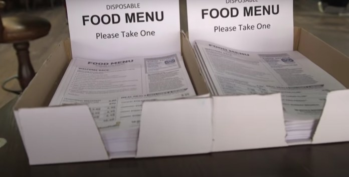Disposable food menus replaced normal Wetherspoons menus