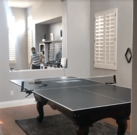 Martin has a table tennis court set up