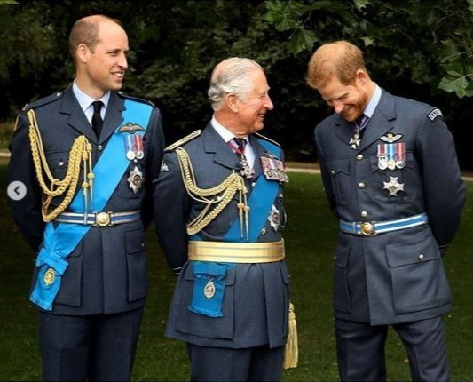 Prince Harry beams with his father and older brother
