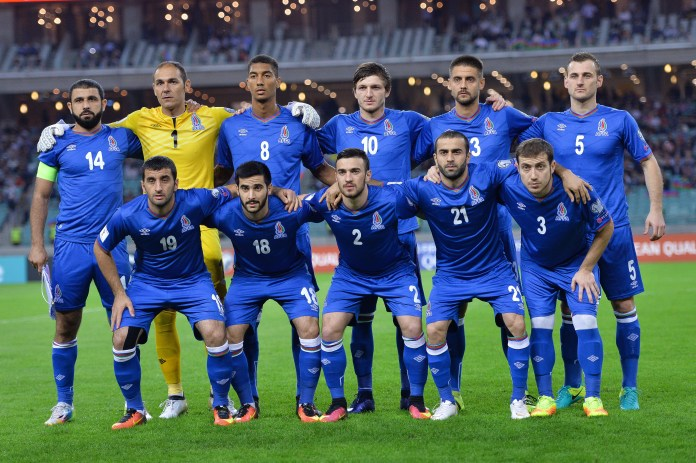 Azerbaijan team poses for team photo before World Cup qualifier against Norway