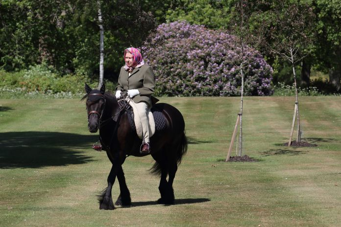 The Queen was pictured riding a pony in the grounds of Windsor last June during the first national lockdown