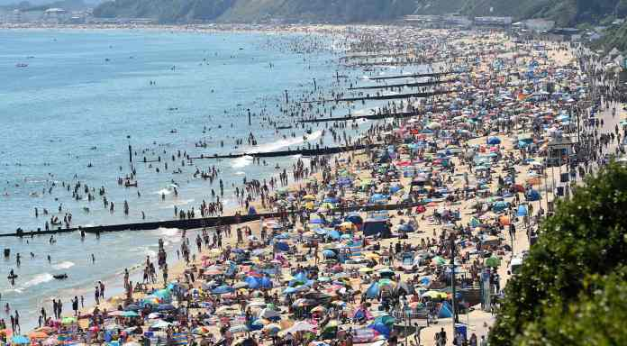 Bournemouth Beach was packed with thousands of Britons who flouted social distancing rules on Thursday