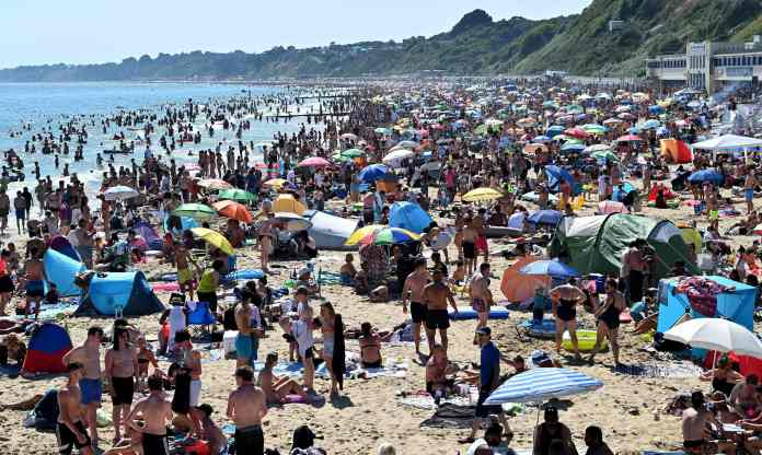Matt Hancock has threatened to close the beaches after the British flouted social distancing rules