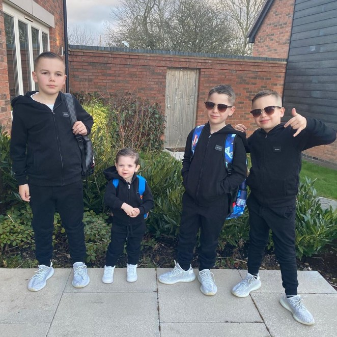 Danielle's four sons - Archie, Harry, Ronnie and George in cute matching outfits