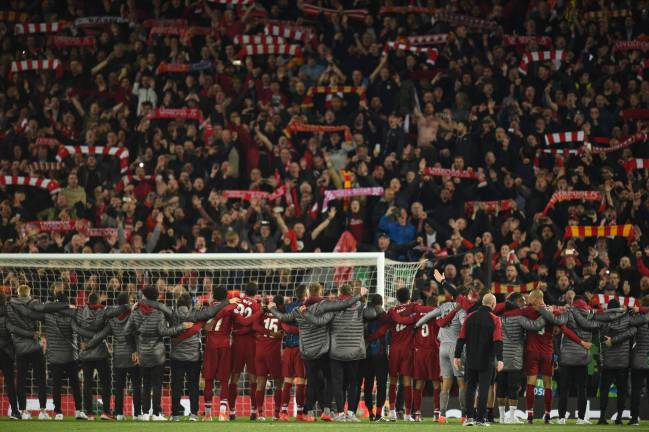 Those who have season tickets in the stand are known as 'Kopites'