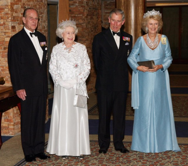 The Queen poses with her family including Prince Philip and her son Prince Charles and his wife Camilla
