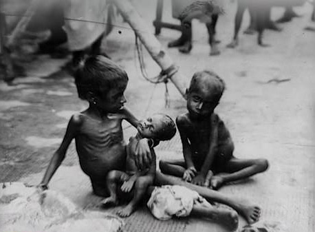 Nearly three million people are estimated to have died of famine in British India, now Bangladesh and eastern India, during World War II
