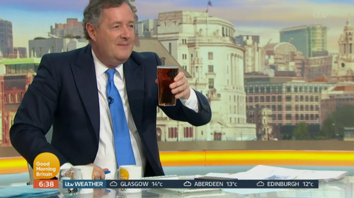 Piers Morgan was gifted a pint of beer at 6.30am on GMB today