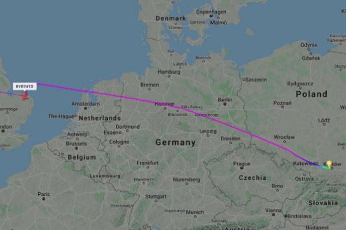 Ryanair flight was going from Krakow, Poland, to Dublin