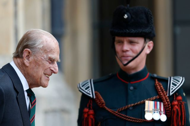 Prince Philip joked with Lance Corporal Colin Streetin about keeping in shape