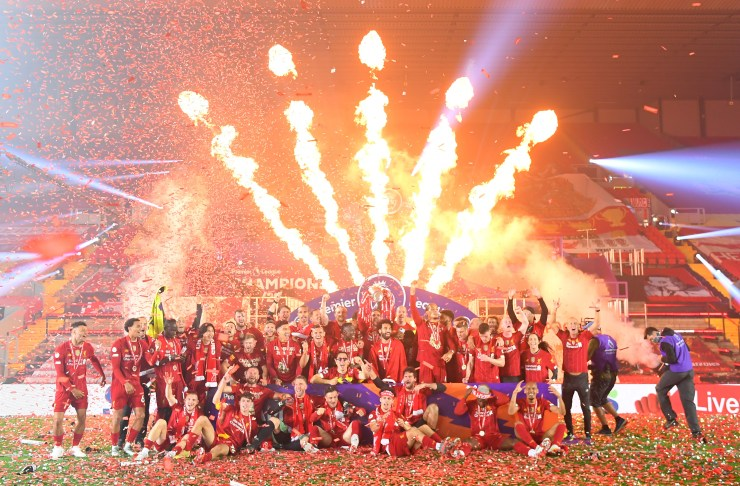 Liverpool lifted the Premier League trophy at Anfield