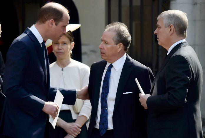 David Linley with Prince Andrew and Prince William