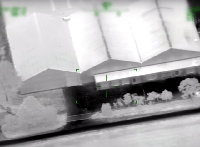 The warehouse as seen by a thermal camera aboard a police helicopter that was swooping on the hideout