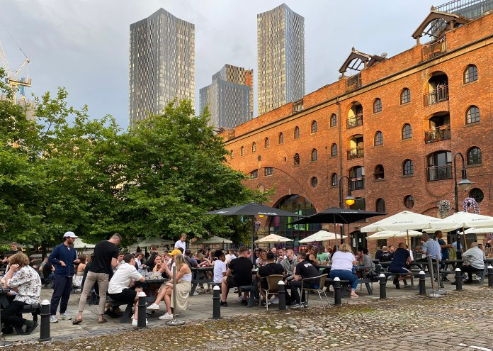 Manchester bars and pubs were still full on Friday