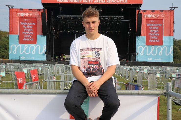 Sam Fender ahead of his concert at the Virgin Money Unity Arena, a pop-up venue in Gosforth Park
