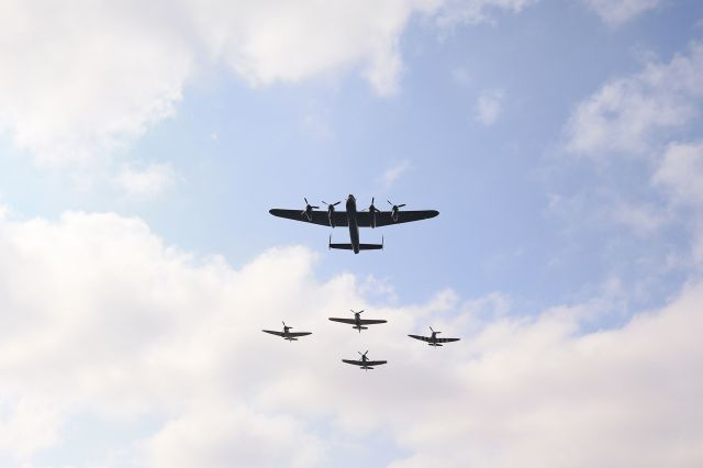 A flypast was held to commemorate the 75th anniversary of VJ Day