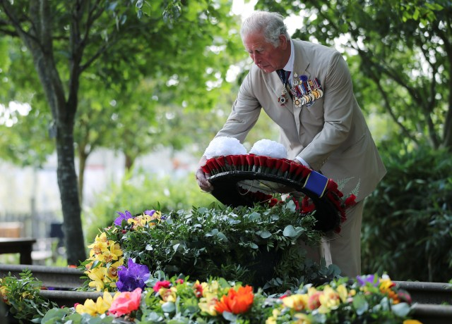 Prince Charles also pays tribute at the National Memorial Arboretum in Staffordshire
