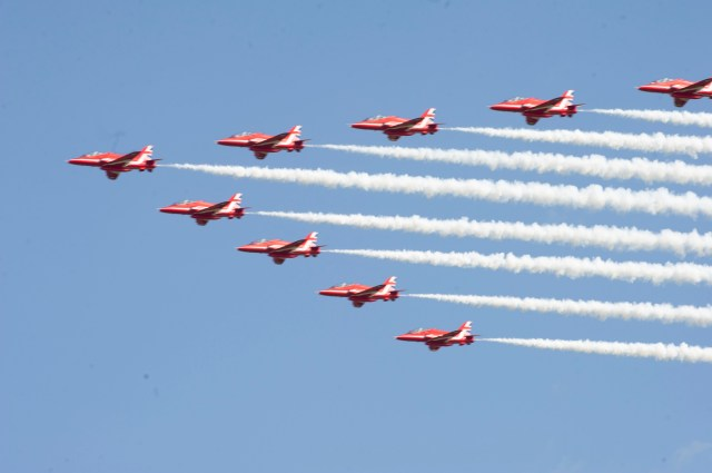 The Red Arrows did a flypast and incredible aerial display before landing at Prestwick Airport, but the flypast over Edinburgh was cancelled due to cloudy weather