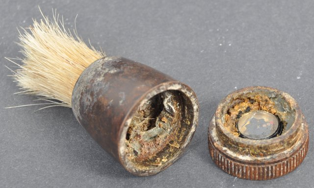 Shaving brush with a miniature camera used by British agents