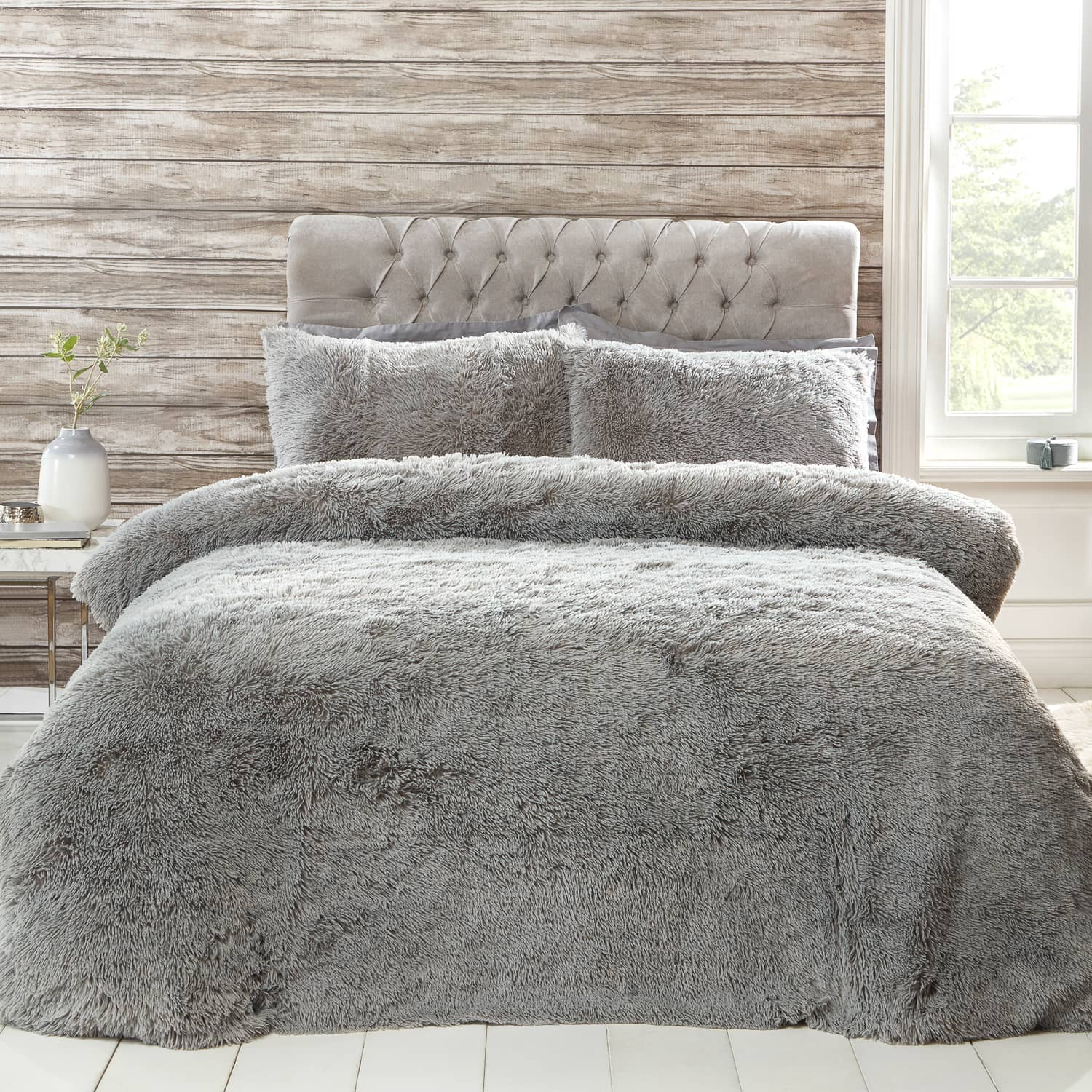 shaggy faux fur bedding set from b m