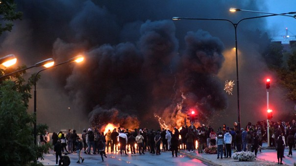 Hundreds of protesters took to the streets in Malmo