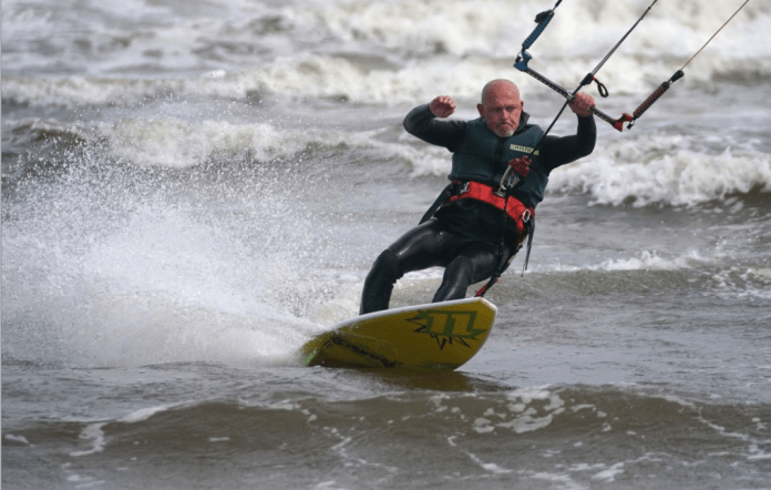 However, not everyone is upset by the bad weather, with water sports enthusiasts off Tynemouth making the most of the wind