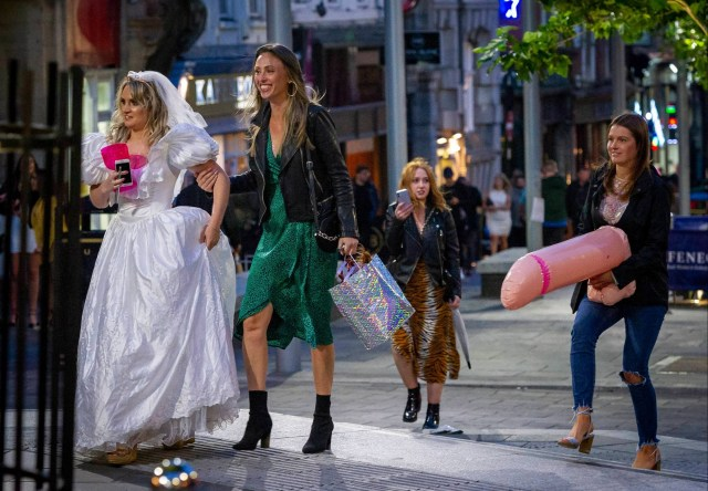 A hen-do in full swing on the streets of Newcastle