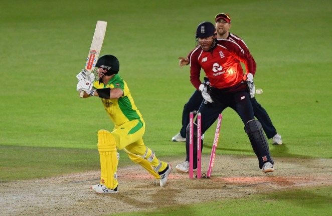Aaron Finch becomes one of three prized victims for England wrist-spinner Adil Rashid