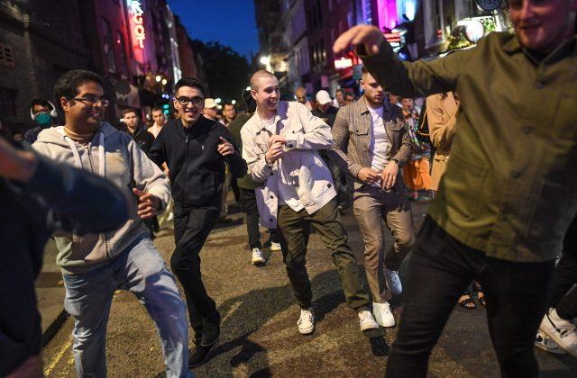 Dancing broke out in Soho in central London